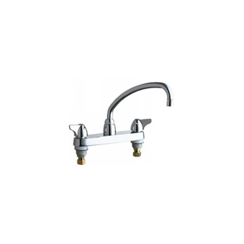 Chicago Faucets 1100-L9VPAXKABCP  Universal Centerset Deck Mounted Kitchen Faucet with Lever Handles Polished Chrome -