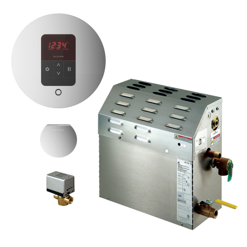 Mr Steam MS400EC1 Steam Bath Generator with iTempo Autoflush Round Package In Polished Chrome