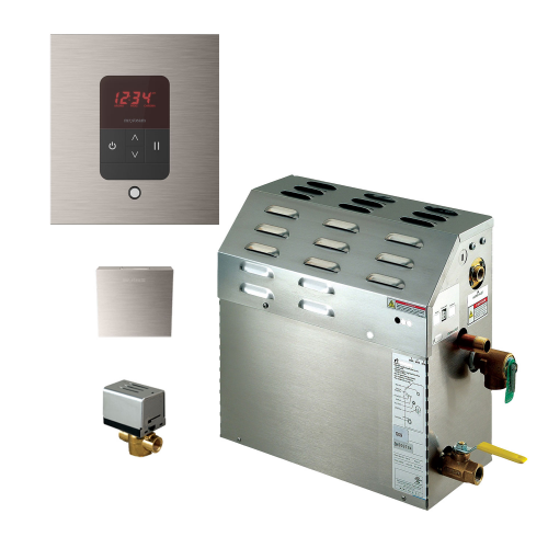 Mr Steam MS150EC1 Steam Bath Generator with iTempo Autoflush Square Package In Brushed Nickel
