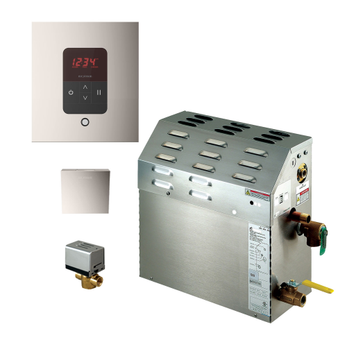 Mr Steam MS400EC1 Steam Bath Generator with iTempo Autoflush Square Package In Polished Nickel