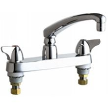 Chicago Faucets 1100-XKABCP Universal Centerset Deck Mounted Kitchen Faucet with Lever Handles Polished Chrome -