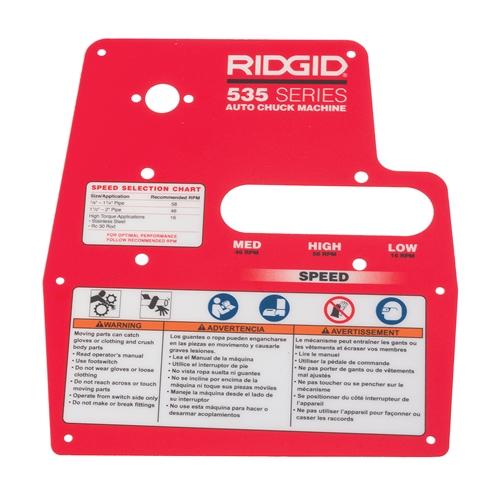 Ridgid 94207 Plate, Warning 535A